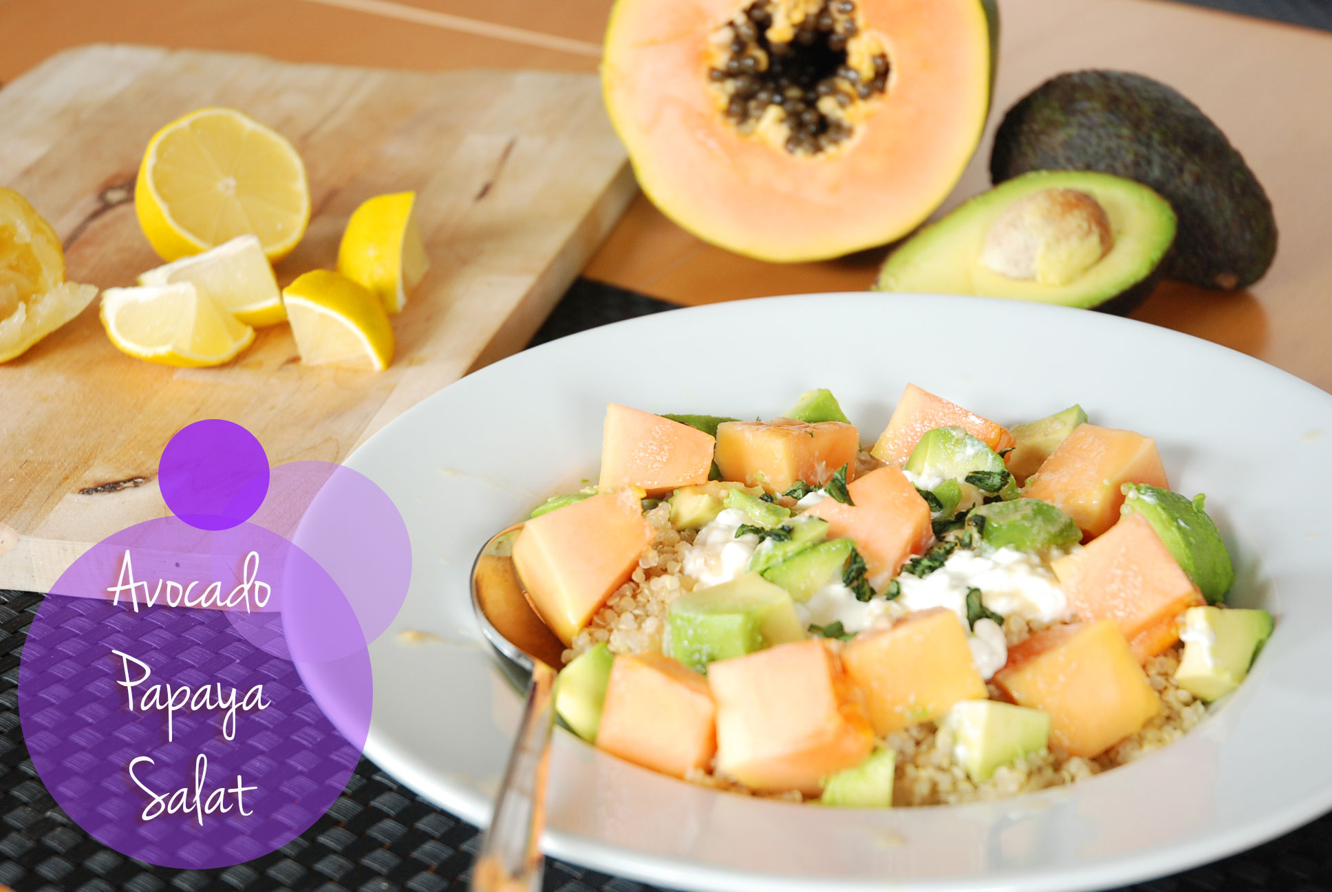 Avocado-Papaya Salat / Avocado-Papaya Salad - FIT & HAPPY