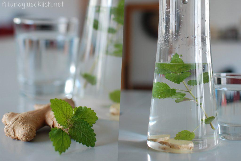 wasser, water, fit&glücklich, ingwer, ginger, zitronenmelisse