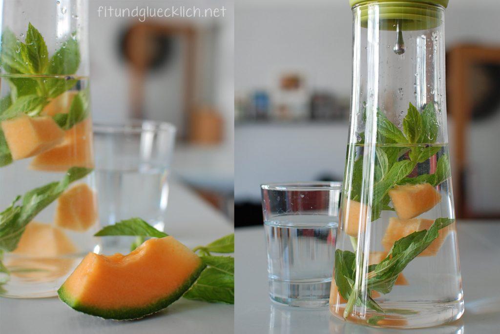 wasser, water, fit&glücklich, melon, melone, minze, mint