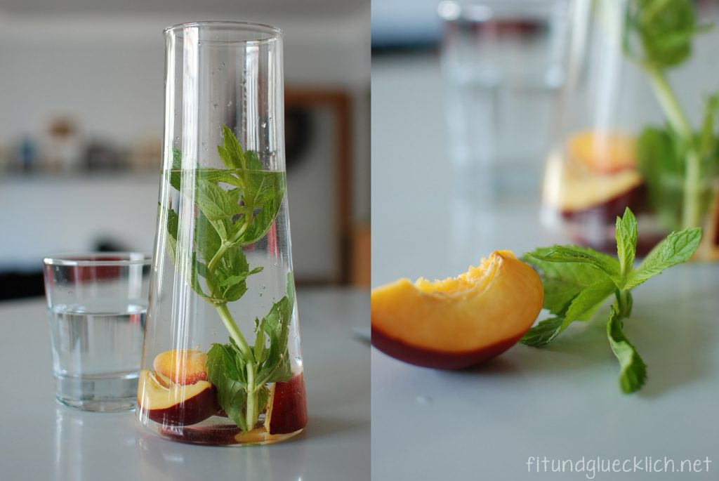 wasser, water, fit&glücklich, minze, pfirsich, mint