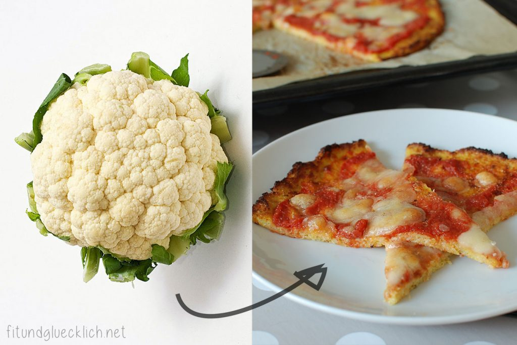 karfiol, teig, pizza, cauliflower, crust, cheese, käse, clean eating, fitundgluecklich.net