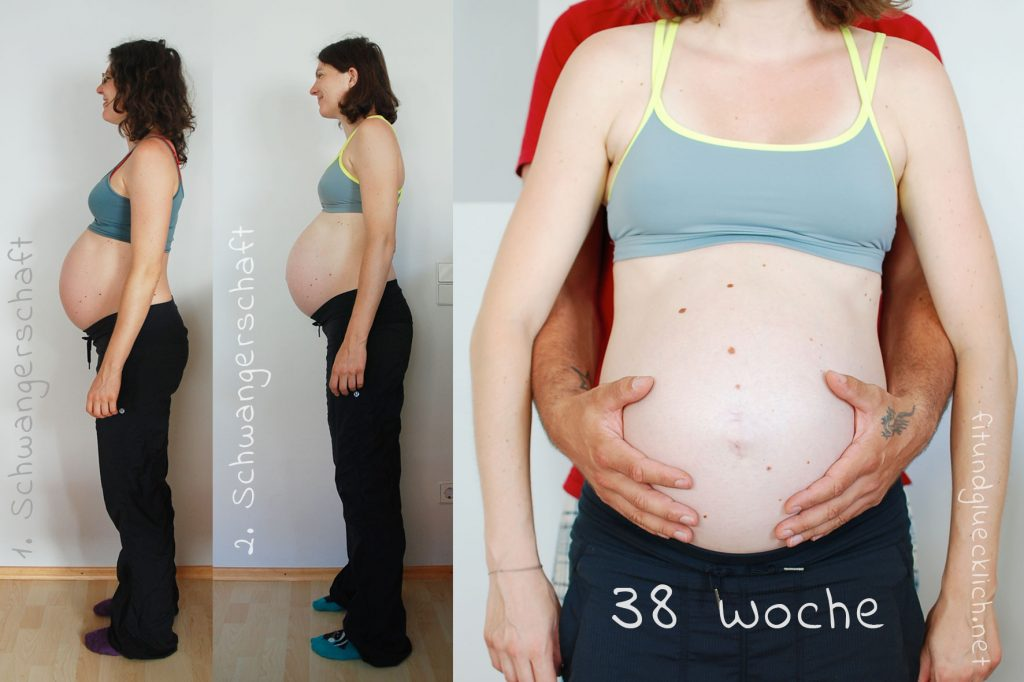 babybauch 38 Wochen vergleich 1 und 2 schwangerschaft