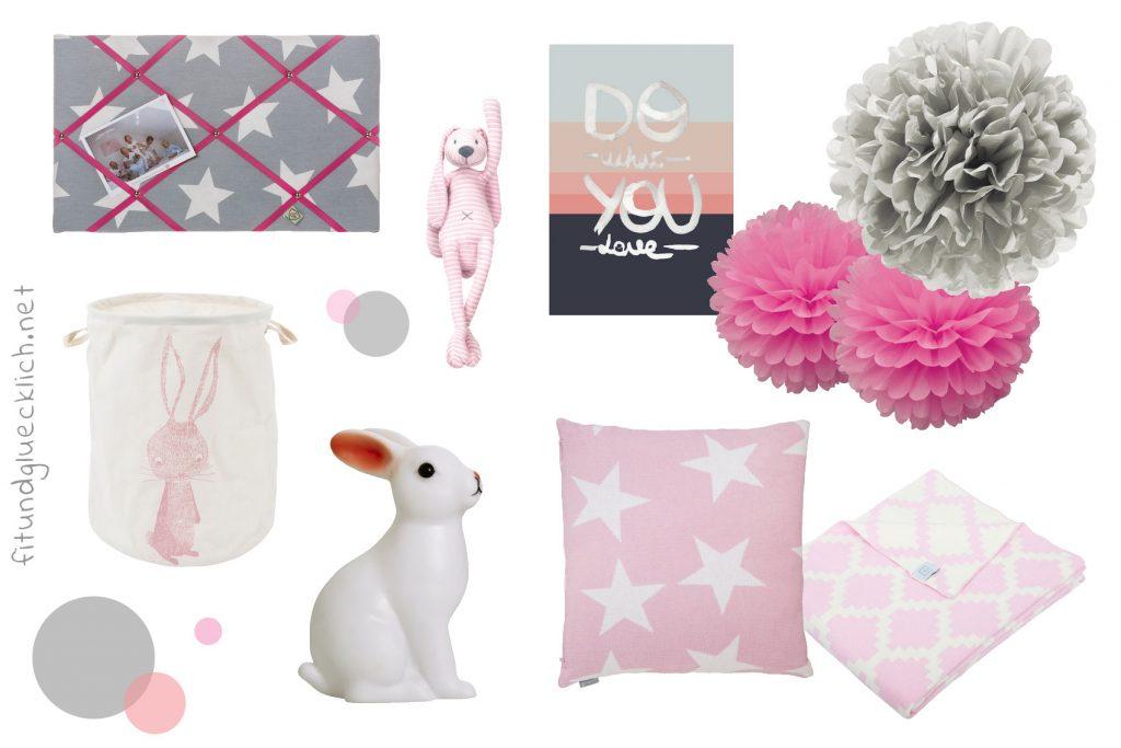 moodboard babyecke grau rosa