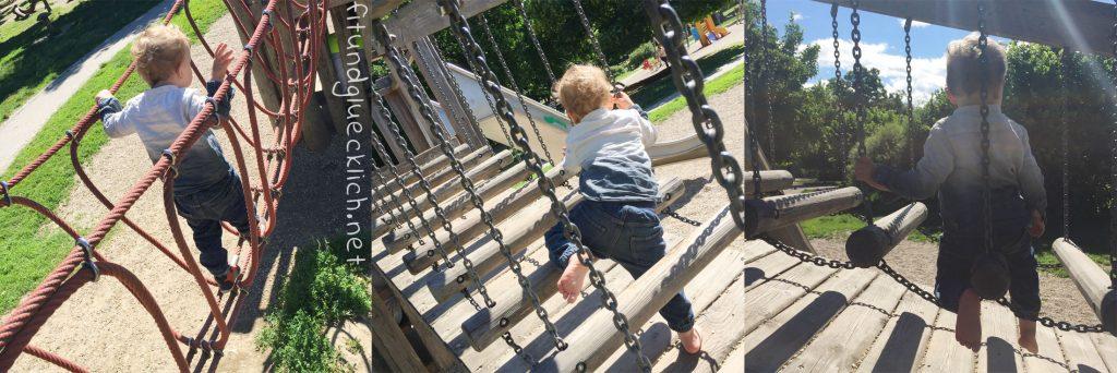 Kind am Spielplatz Auer Welsbach Park