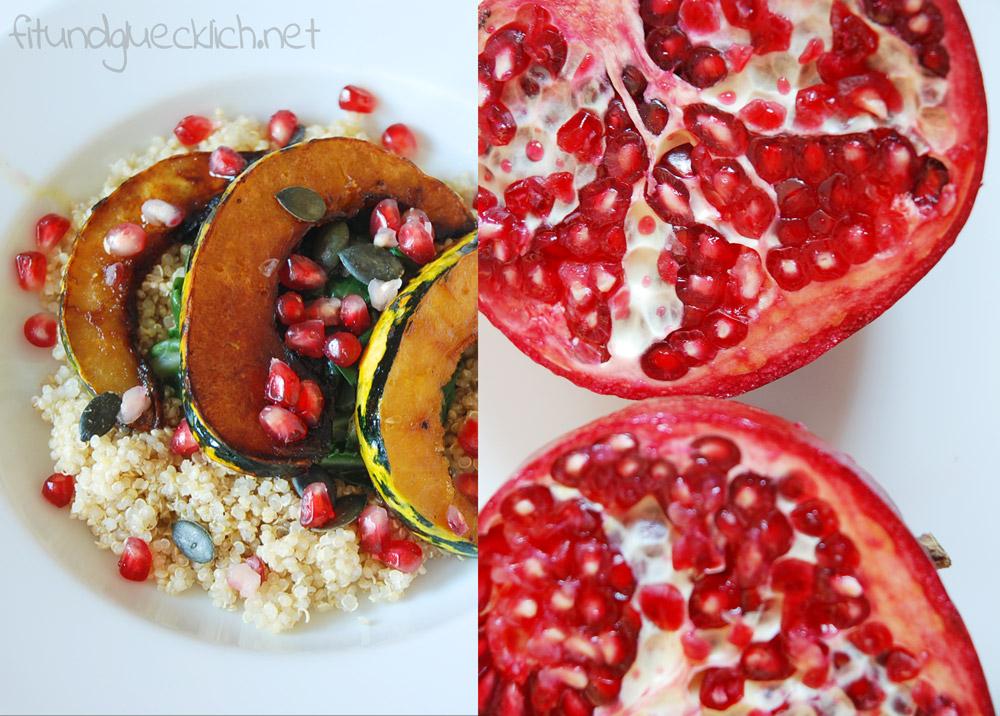 Wintersalat mit karamellisiertem Kürbis und Granatapfel