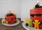 wassermelonentorte, geburtstagstorte, melonentorte, wassermelone, gesunde torte