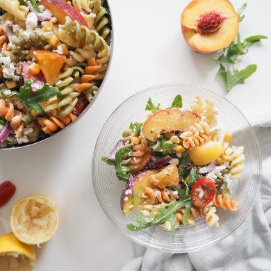 Sommersalat Nudelsalat Pfirsich